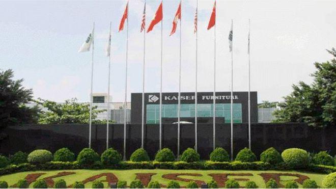 Hình ảnh trên trang web của công ty Kaiser cho thấy lá cờ Trung Quốc, Việt Nam và Hoa Kỳ