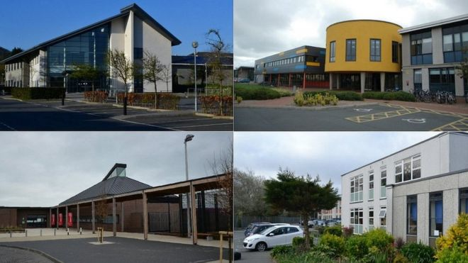 Guernsey secondary schools. Clockwise from top left; Grammar School, St Sampson's High, La Mare de Carteret High and Les Beaucamps High