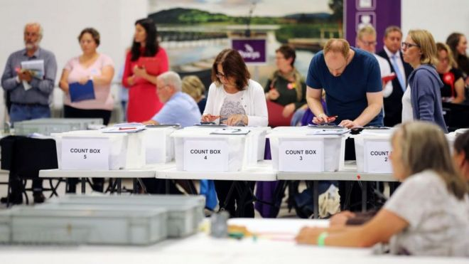 People counting votes