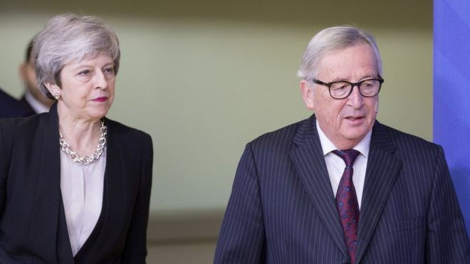 Theresa May and Jean-Claude Juncker in Brussels in February