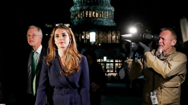 White House Communications Director Hope Hicks leaves the US Capitol after attending the House Intelligence Committee closed door meeting in Washington, February 27, 2018