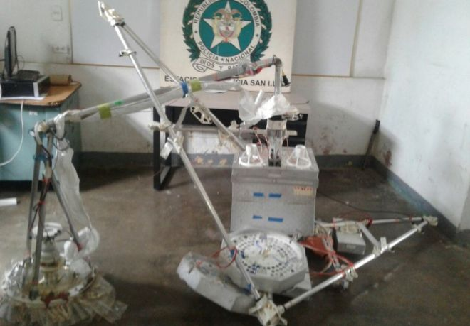A photo taken by Colombian police of the remains of an internet balloon which crashed in Tolima province