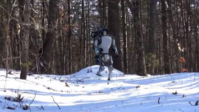 Robot Atlas caminando en la nieve