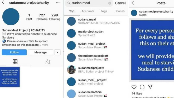 Some of the accounts making bogus claims about providing aid to Sudan