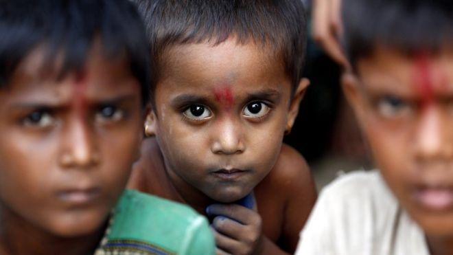 Hindu children gather at the temporary camp in Maungdaw township, Rakhine State, western Myanmar, 6 September 2017.