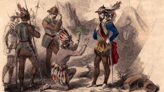 Dibujo de Atahualpa rogando clemencia a Pizarro