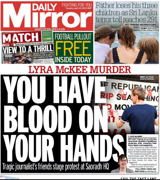 NI paper review: Blood-red hands and pre-arranged fight - BBC News