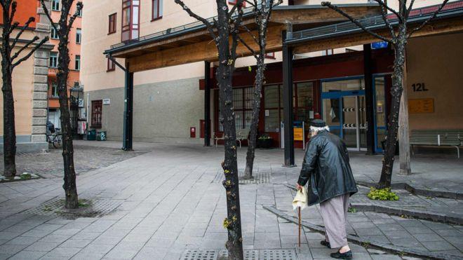 A man walking outside his nursing home in Stockholm