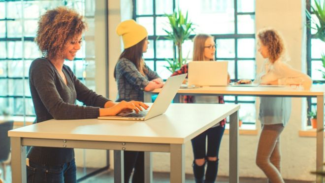Women using standing desks