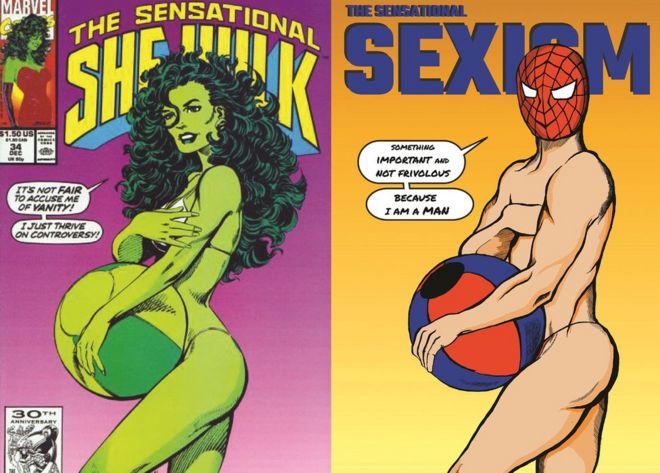 Comic cover by Shreya Arora showing an issue of The Sensational She-Hulk (left), with Shreya Arora's reimagination (right)
