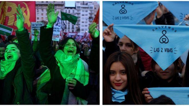 Mujeres a favor y en contra de la despenalización del aborto en Argentina