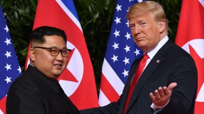 North Korea's leader Kim Jong-un (left) and US President Donald Trump in Singapore. Photo: 12 June 2018