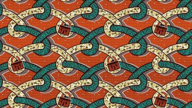 Padlock fabric design from Ghana Textiles Printing