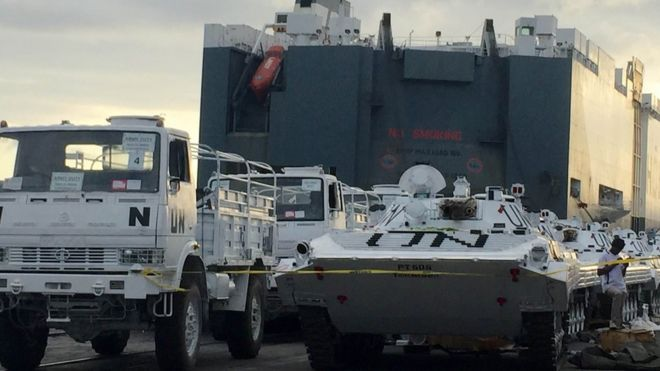 Nice United Nations Vehicles Are Offloaded From A Norwegian Ship At The Kenyan  Port Of Mombasa