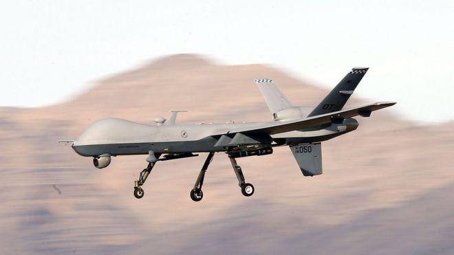 تصویر یک پهپاد آمریکایی 9-MQ در حال پرواز آزمایشی