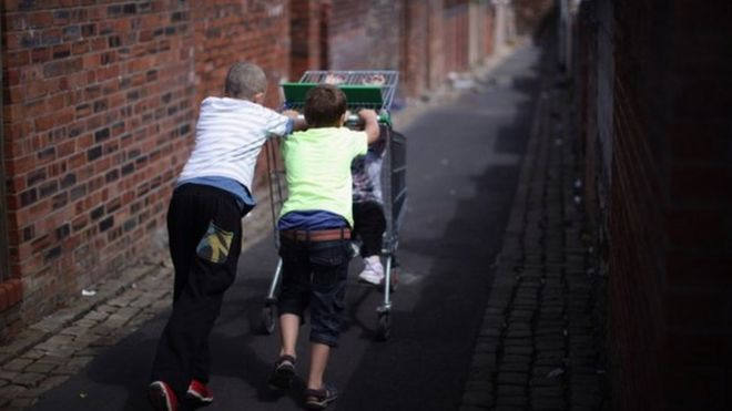 pushing a trolley
