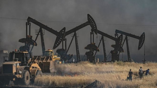 Oil field in the Hasakah province near the Syrian-Turkish border