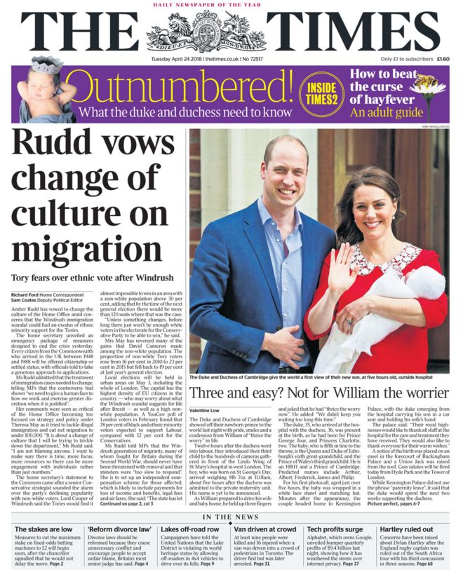 Times front page -24/04/18