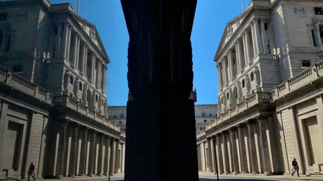 Bank of England reflected in glass