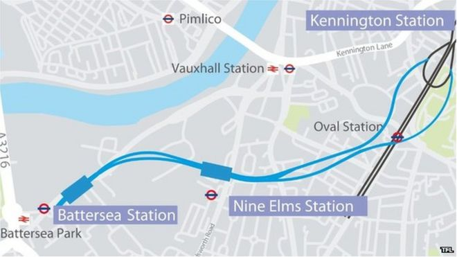 Northern Line Extension Map Tunnelling for Northern Line extension to begin in March   BBC News Northern Line Extension Map