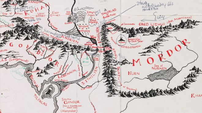 JRR Tolkien\'s annotated Middle-earth map at Bodleian - BBC News