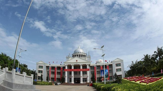 Tòa nhà ủy ban thành phố Tam Sa của Trung Quốc tại đảo Phú Lâm, quần đảo Hoàng Sa chụp hồi 25/7/2012