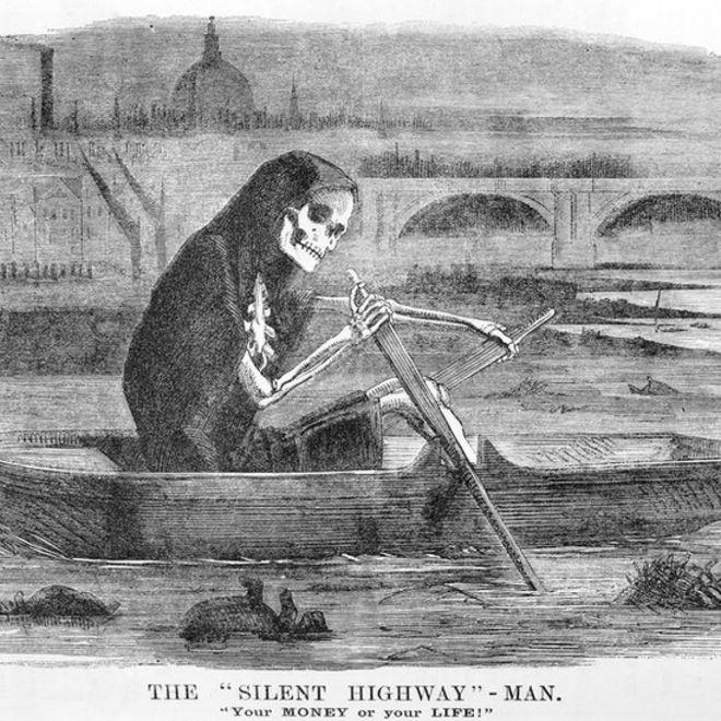 Карикатура: смерть плывет по Темзе