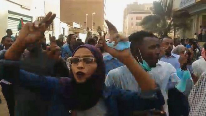 People chanting and shouting during a protest calling for the resignation of the Sudanese president in the capital Khartoum.