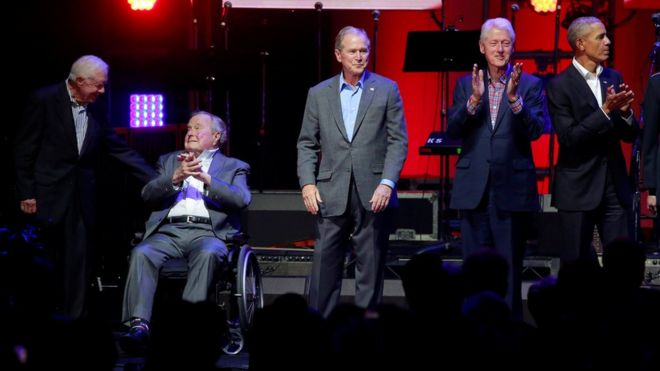 Five former U.S. presidents, Jimmy Carter, George H.W. Bush, George W. Bush, Bill Clinton, and Barack Obama attend a concert at Texas AM University benefiting hurricane relief efforts in College Station, Texas, U.S., 21 Octobe, 2017