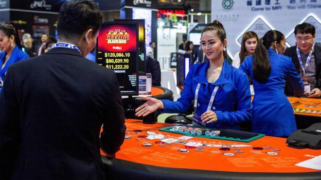 澳门一场国际博彩博览会上的模拟赌枱(21/5/2019)
