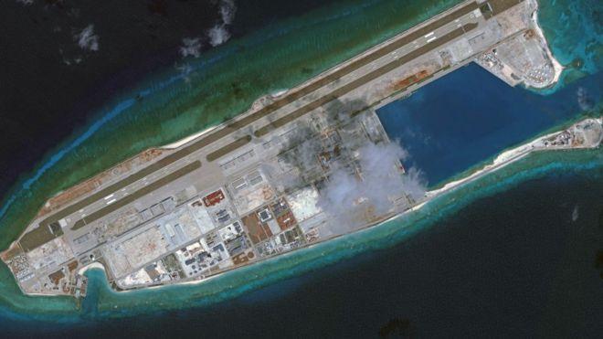 Hình ảnh bãi Đá Chữ thập chụp bằng vệ tinh hôm 26/5/2018