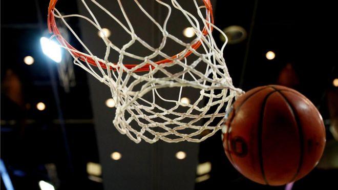 A basketball hoop and ball