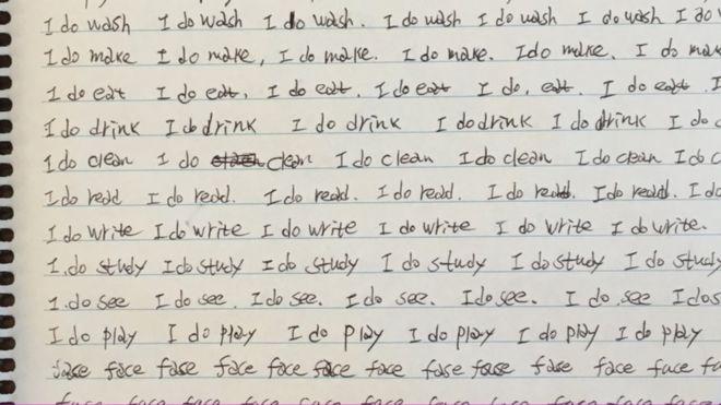 Jeon'un İngilizce çalışırken yazdığı kağıtlardan biri