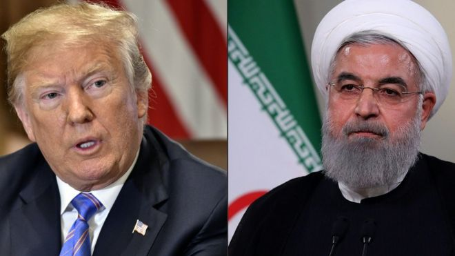 Composite photo showing Donald Trump and Hassan Rouhani