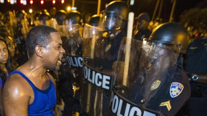 Protesters square off against the police in the city of Baton Rouge in 2016