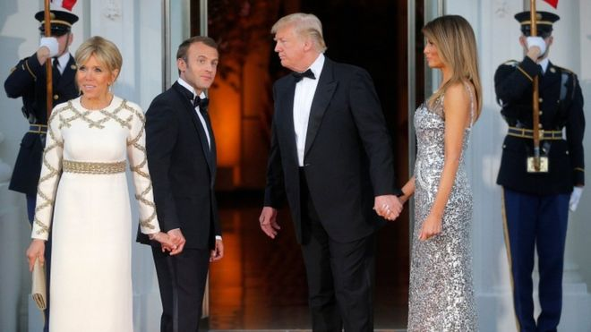 Brigitte Macron With Husband French President Emmanuel Macron With Us President Donald Trump And