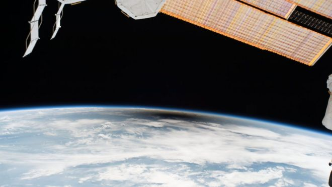 As millions of people across the United States experienced a total eclipse as the umbra, or moon's shadow passed over them, only six people witnessed the umbra from space. Viewing the eclipse from orbit were NASA's Randy Bresnik, Jack Fischer and Peggy Whitson, ESA (European Space Agency's) Paolo Nespoli, and Roscosmos' Commander Fyodor Yurchikhin and Sergey Ryazanskiy. The space station crossed the path of the eclipse three times as it orbited above the continental United States at an altitude of 250 miles.