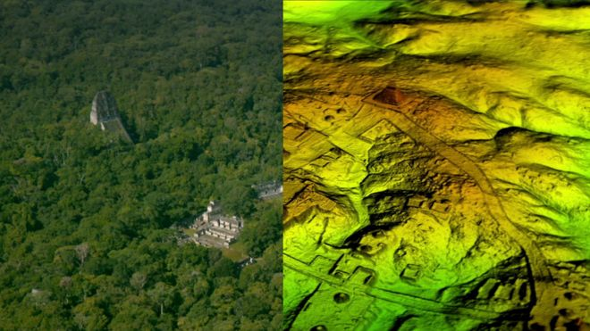 A split image with one side showing an aerial look on Mayan ruins in Guatemala's northern jungle, and the other side showing a digital landscape that strips away the forest canopy to reveal structures under the ground.