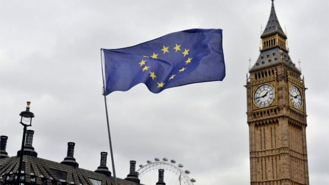 EU flag outside UK Parliament