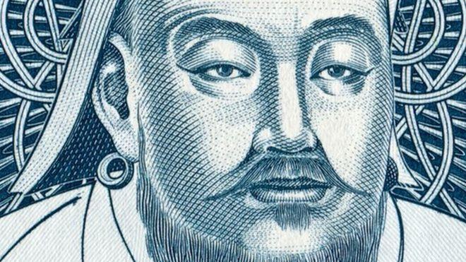 Gengis Khan, como aparece en un billete mongolés