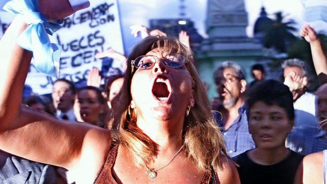 Protesta en Argentina en 2002