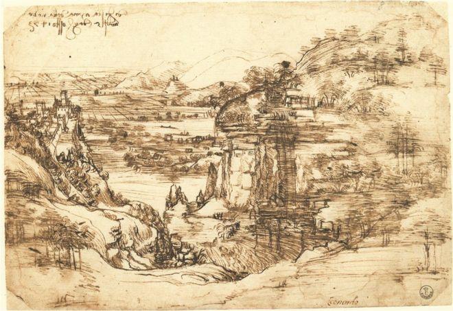 A landscape sketch by Leonardo Da Vinci