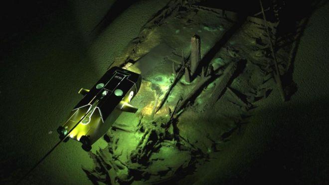 Imagen de restos submarinos en el fondo del Mar Negro.