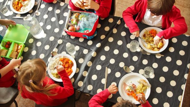 School children eating a roast dinner