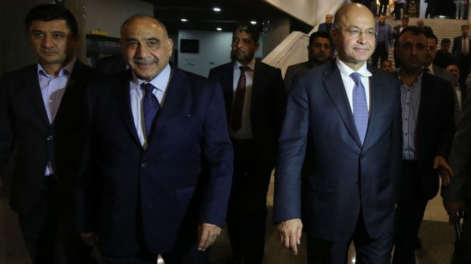 New Iraq President Barham Saleh names Adel Abdul Mahdi as PM _103687250_mediaitem103687248
