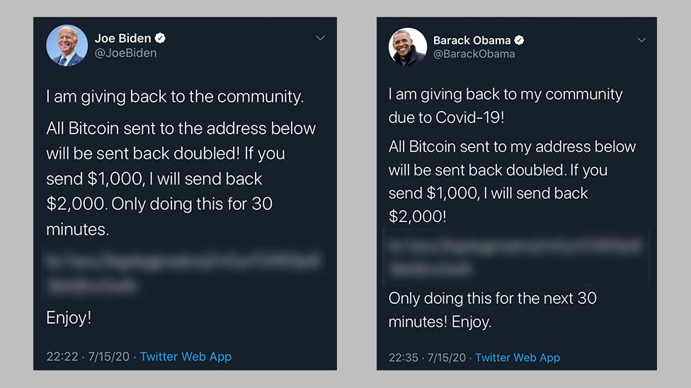 Tweets from Joe Biden and Barack Obama's accounts