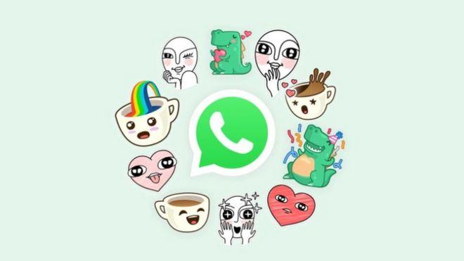 Imagen con las pegatinas predeterminadas de WhatsApp.