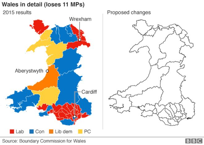Map Of Wales Uk.Boundary Commission Map Cuts Welsh Mps By A Quarter Bbc News
