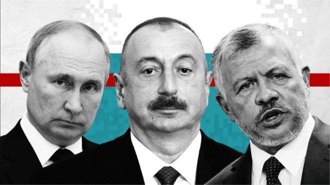 El presidente ruso Vladimir Putin, el presidente de Aizebaiyán, Ilham Aliyev y el rey de Jordania, Abdalá II bin Al Hussein.