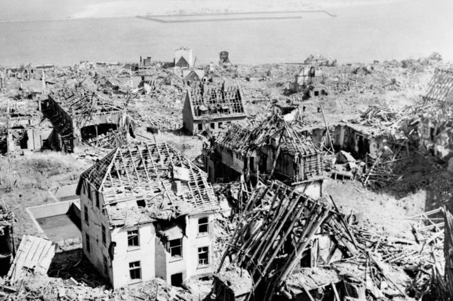 Buildings wrecked by the Heligoland explosion